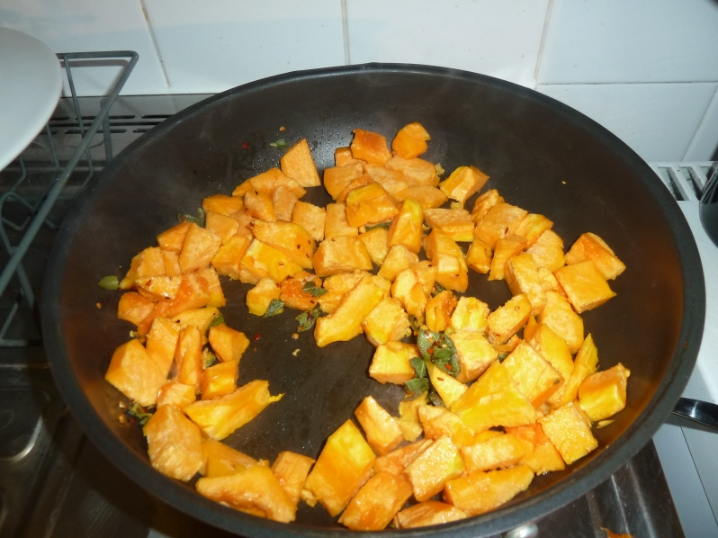 Squash cooking nicely...