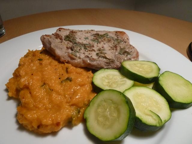 Sage pork chop with butternut squash creamy sage mash