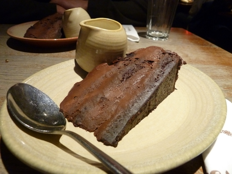 Nando's DIVINE Choc-a-lot cake, served with cream