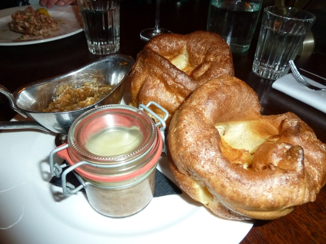 Potted beef and bacon, with caramelised onions and yorkshire puds :)