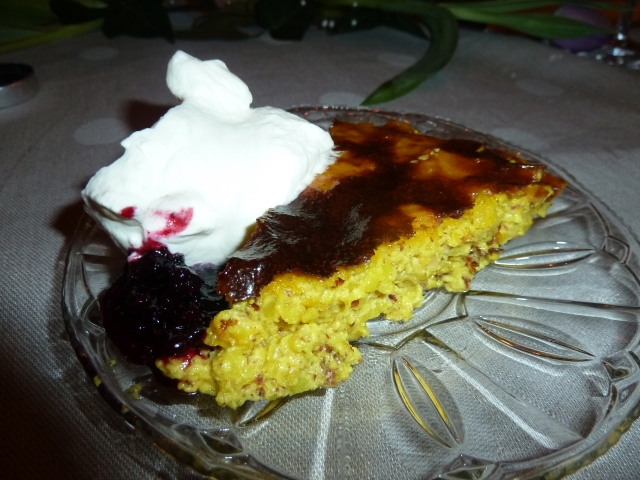 Saffron pancake with dewberry jam and whipped cream