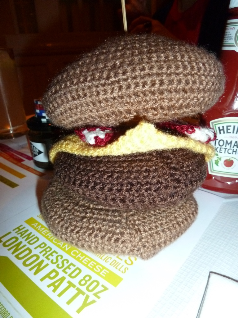Really cool knitted burger made by Akiko, which won her and Luke tickets to the event. I'm really glad they did because they were so nice!