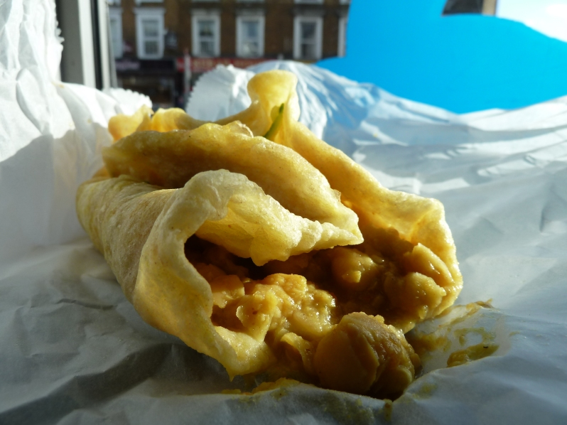 Fried flat bread with curried chickpeas AKA heaven for £1.50