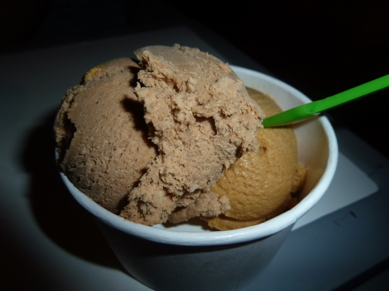 Hazelnut-chocolate and salted caramel ice-cream