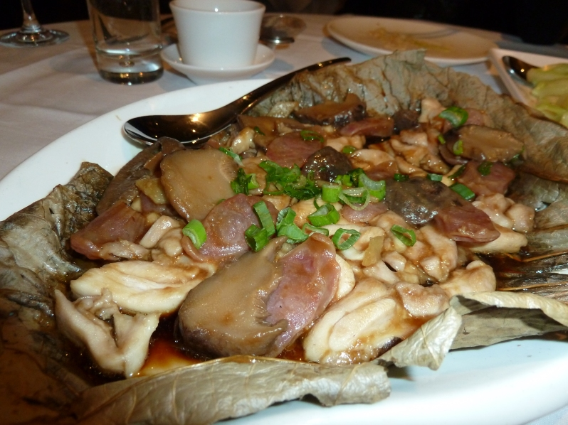 Steamed Chicken with Mushroom and Chinese Sausag