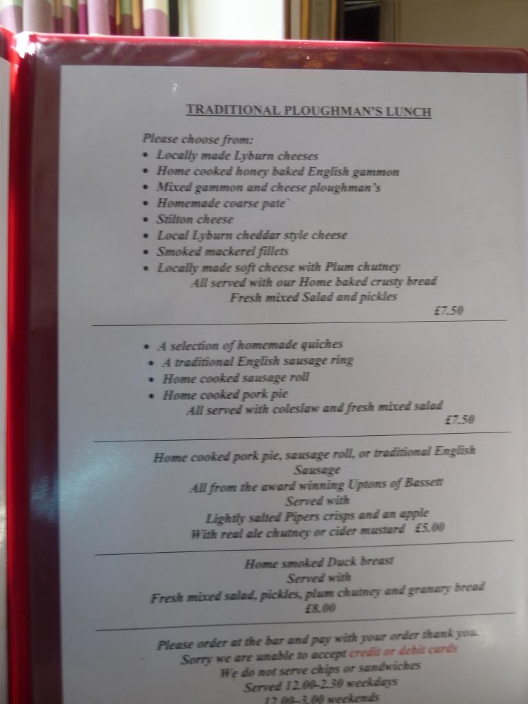 Lunch menu - April 2013