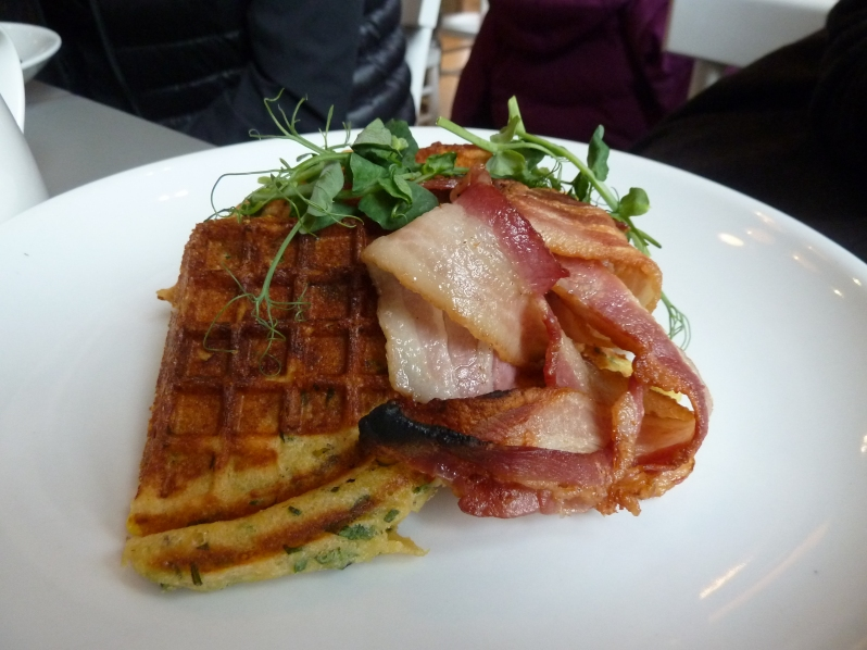 Chilli and curry leaf waffles with smoked bacon and maple syrup
