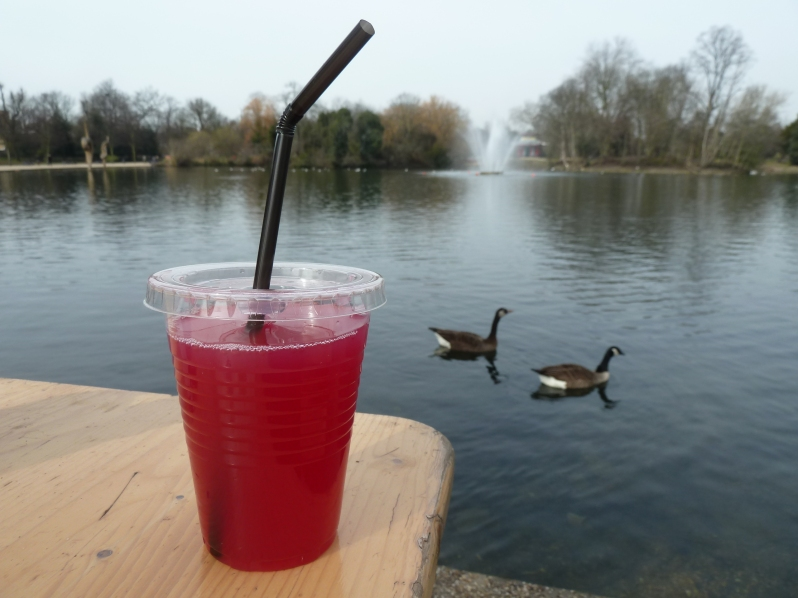 Apple and beetroot juice, modelled by two geese