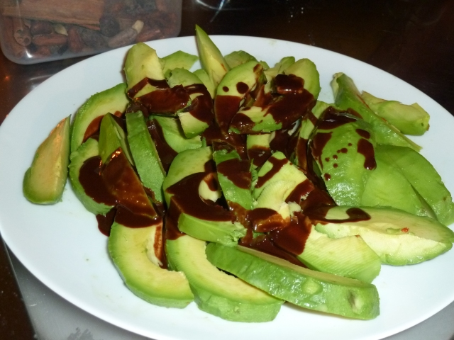 Avocado, chocolate and agave syrup