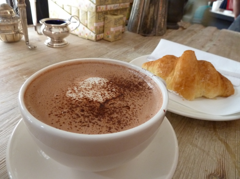The 'longer' hot chocolate with artful croissant in the background...