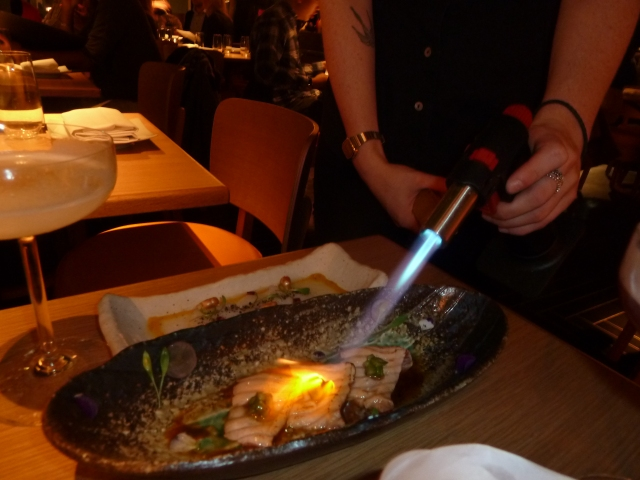 Torching the salmon!