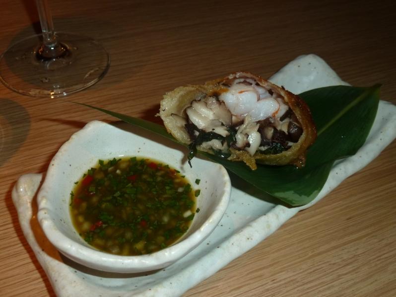 Prawn spring roll, shiitake, yuzu, shiso, ponzu salsa