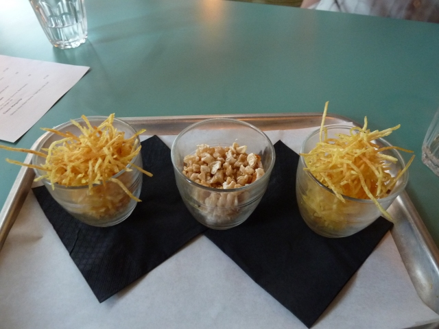 Pork skin popcorn and shoe string fries