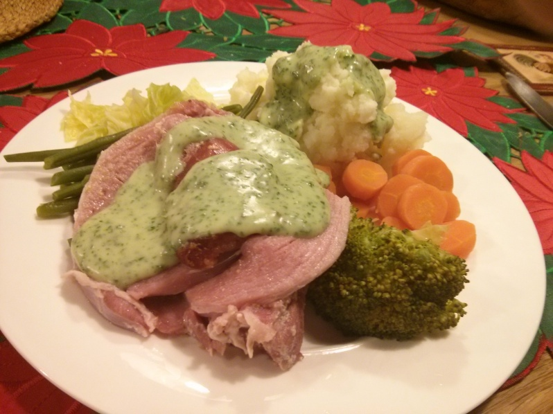 Roast ham with parsley sauce