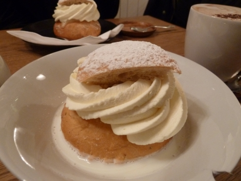 Semla with cinnamon milk