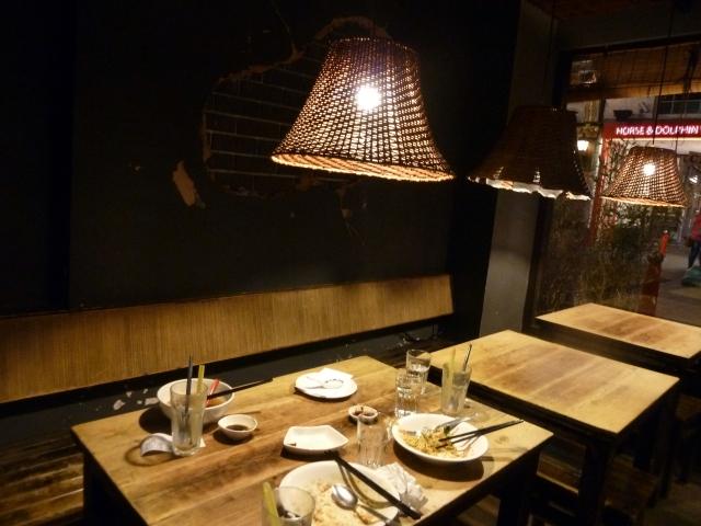 The dimly-lit interior