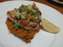 Sea bass with sweet potato and avocado salsa