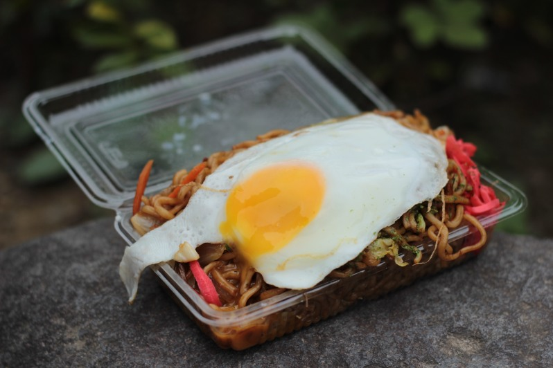 Yakisoba - fried noodles served with very strong and slightly spicy pickled ginger and topped with a fried egg. Bargain 400円.