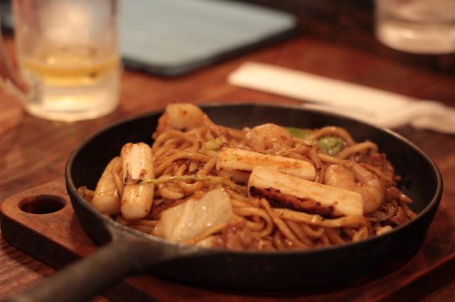 Mixed seafood yakisoba