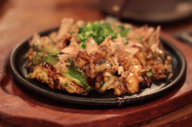 Prawn and avocado okonomiyaki, Kansai-style, 980 yen
