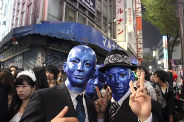 Blue men.